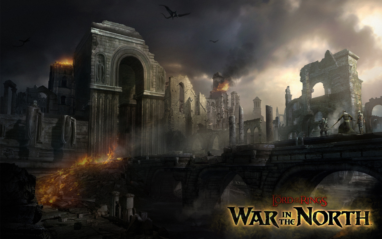 война севера, game wallpapers, osgiliath, пожар, the lord of the rings, wall, ringwraith, руины, назгул, nazgul, осгилиат, властелин колец, war in the north