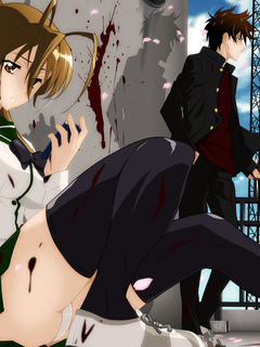 miyamoto rei, highschool of the dead, лепестки, кровь, бита, komuro takashi