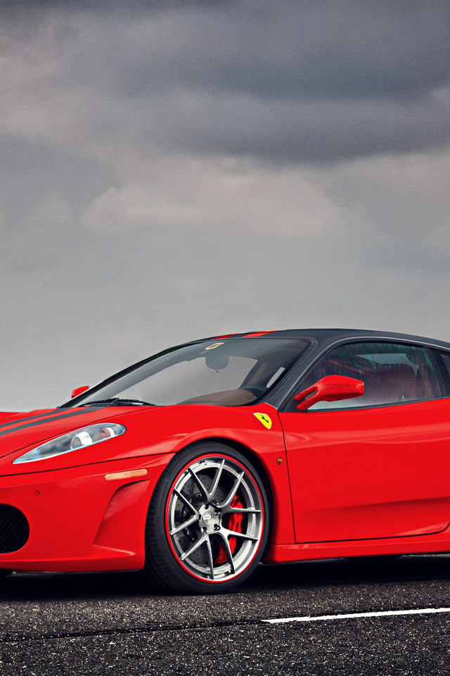 sky, landscape, clouds, factory, red, ferrari, f430, supercar, water