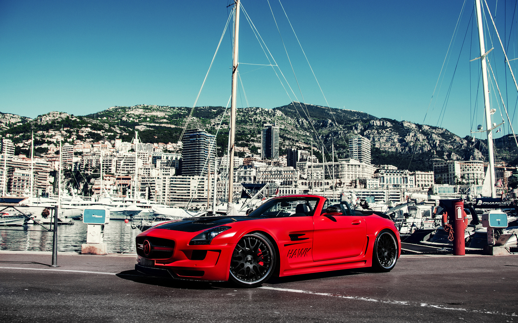 building, island мерседес, hamann hawk, sls, tuning, yacht, amg, red, mercedes, mountains