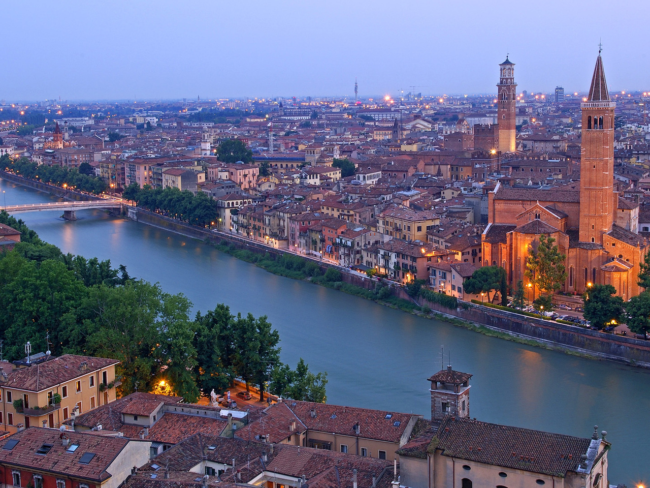 torre dei lamberti, verona, верона, italy, santa anastasia church, италия, adige river