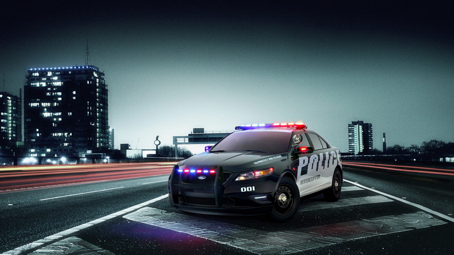 Фото обои дорога, interceptor, police, Ford для всех разрешений монитора