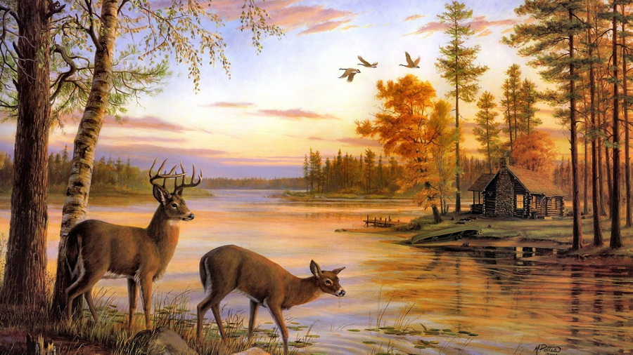 Фото обои river, Quiet evening, deer, painting, nature, mary pettis, birch для всех разрешений монитора
