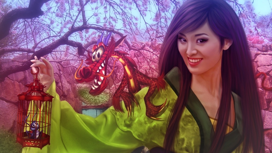 Фото обои walt disney, donatella drago, princess, Mulan, dragon, fantasy, china, fanart, animated film, girl для всех разрешений монитора