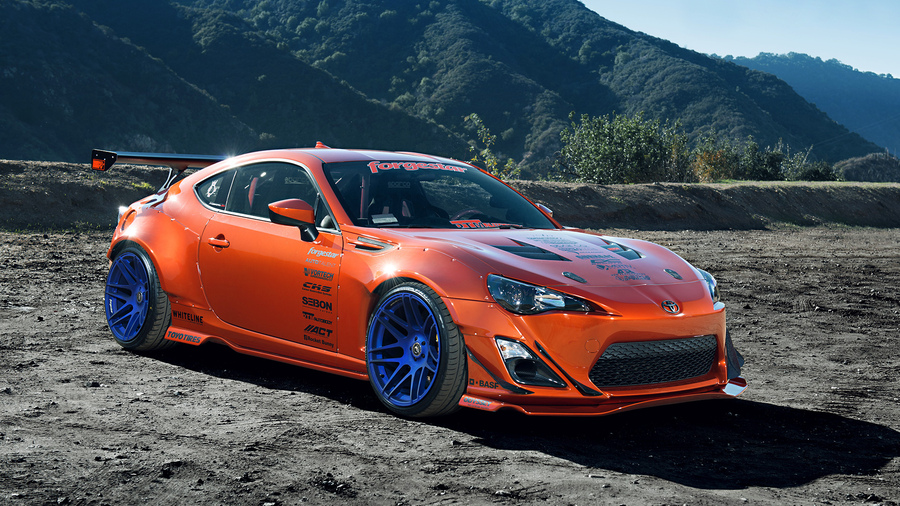Фото обои mountain, rims, wheels, tuning, style, toyota, 86, widebody, fr-s, orange, scion, spoilers для всех разрешений монитора