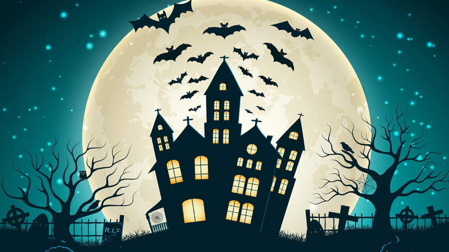 Фото обои creepy, trees, castle, full moon, scary house, holiday halloween, vector, evil pumpkin, horror, bat для всех разрешений монитора