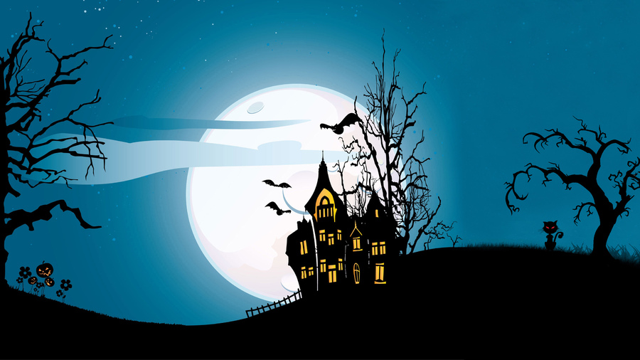 Фото обои trees, castle, vector, evil pumpkin, scary house, holiday halloween, horror, bat, creepy, full moon для всех разрешений монитора