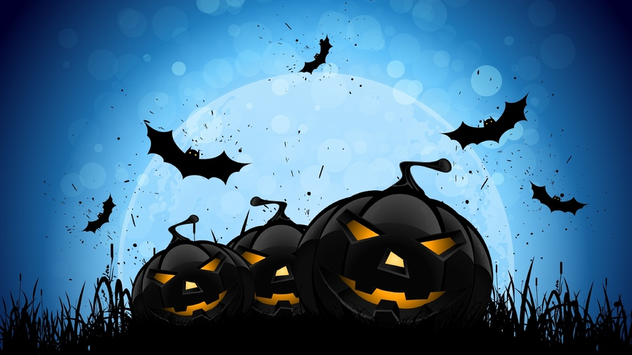 Фото обои midnight, bats, full moon, creepy, evil pumpkins, scary, хэллоуин, horror, halloween для всех разрешений монитора