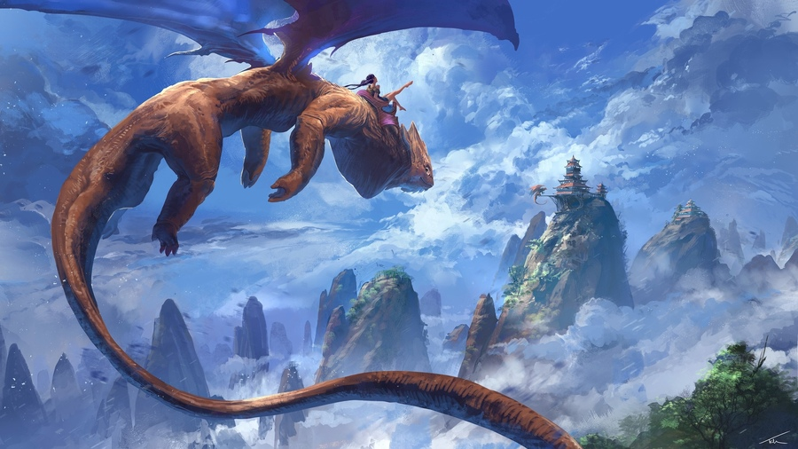 Фото обои homas hamberlain een, dragon, artwork, clouds, painting, digital art, flying, fantasy art, peaks, girl, mountains, castle, wings, sky, fantasy для всех разрешений монитора