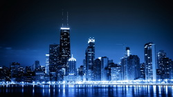 Chicago, city, lights, blue night