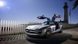 Mercedes, дорога, солнце, sls amg, auto wallpapers, машины, мерседесы