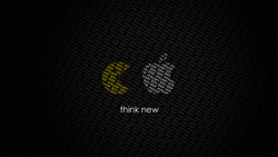 Think new, apple, pac-man