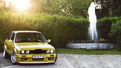 yellow, 3 series, жёлтый, бмв, Bmw, coupe, фонтан, e30