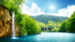 sunlight, Waterfall, lake, deep forest, sky, landscape, trees, sea, clouds, beautiful, nature ...