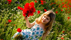 green field, happiness, child, children, Cute little girl, childhood, flowers ...