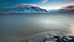 Iceland, stones, coast, snow, sea, sky, ocean, blue, исландия, mountains, горы, clouds ...