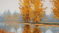 Арт, artsaus, рисунок, misty autumn