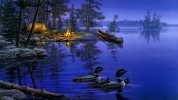 lake, лес, ночь, звёзды, painting, night, звезда, A world away, darrell bush ...