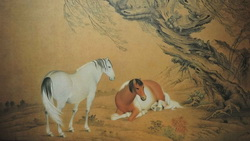 horses, tree, wood, Chinese painting, nature, couple, yellow background