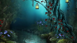nature, lamps, night, roses, forest, flowers, Fantasy, red roses, river, лес, цветы ...