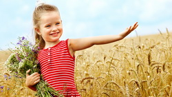 smiling, flowers, childhood, bouquet, Cute little girl , child, happiness, children, wheat field ...