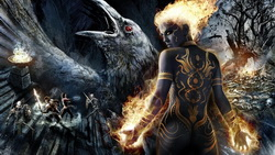 tattoo, girl, fire, skeletons, game wallpapers, raven, Dungeon siege 3, warriors, swords, darkness ...