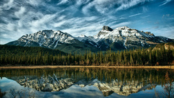 reflection, Canada, clouds, alberta, forest, lake, mountains, blue, nature, trees, sky ...