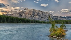 alberta , canada, two jack lake, mount rundle, banff national park