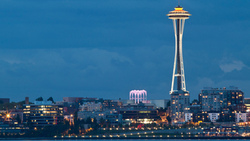 usa, bay, washington, evening, space needle, вашингтон, seattle, city, lights, сша ...