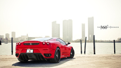 f430, небоскрёбы, феррари, ferrari, задняя часть, 360 three sixty forged, красный ...