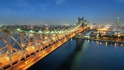 сумерки, огни, нью-йорк, sutton place, usa, nyc, queensboro bridge, new york city, twilight ...