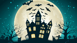 creepy, trees, castle, full moon, scary house, holiday halloween, vector, evil pumpkin, horror, bat ...