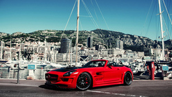 building, island мерседес, hamann hawk, sls, tuning, yacht, amg, red, mercedes, mountains ...