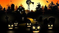 horror, midnight, vector, scary town, bat, creepy, trees, holiday halloween, pumpkin ...