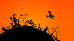 scary city, witch ghost, halloween, bat, trees, midnight , creepy, evil cat, vector, horror ...