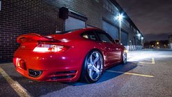 turbo, porsche, garage, wheels, 911, red, tuning, lights, rims, night, glow