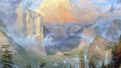 горы, природа, yosemite valley artists point, лес, thomas kinkade, живопись