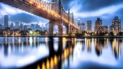 queensboro bridge, usa, roosevelt island, nyc, new york city, manhattan, east river ...