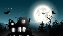 bat, holiday halloween, castle, horror, midnight, full moon, trees, vector, scary house, creepy ...