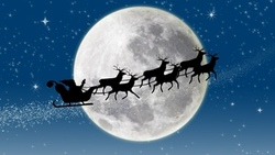 new year, full moon, merry christmas, santa claus coming, reindeer, stars, snow, новый год ...