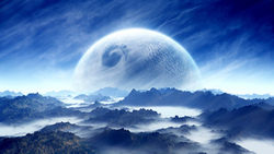 planet, sci fi, mountain, cloud, landscape, blue, sky, white