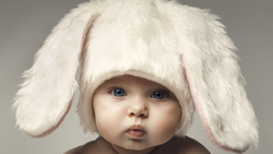 happy baby, kid, children, funny, hat , adorable , rabbit, child, big beautiful blue eyes, easter ...