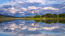 grand teton national park, гора моран, mount moran, snake river, wyoming