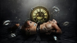Abstract, fantasy, mechanical, girl, watch