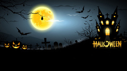 pumpkins, creepy, horror, scary, halloween, full moon, house, midnight, graveyard, bats ...