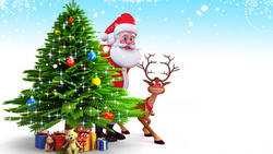 santa claus, christmas tree, christmas, 3d, reindeer, new year, snow, рождество, gifts ...