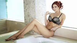 jayden cole, sexy girl, lingerie, sexy legs, erotic, pornactress, adult model, posing, sitting, smile, mirror, reflection, bellybutton ...