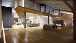 table, modern loft, living room, fireplace, stylish design, hall, интерьер, room, interior ...