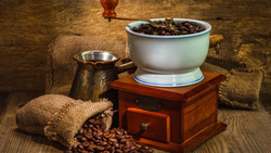 wall, coffee, machine for grinding coffee, wood beads, bags, coffee