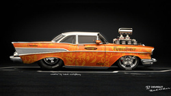 hod rod, american muscle, car, chevrolet bel air 57